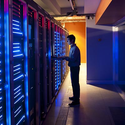Focus on security - room full of computer servers